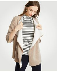 6117be70983 Lyst - Ann Taylor Cascade Open Cardigan in Natural