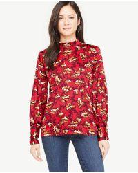 Ann Taylor - Red Petite Floral Mock Neck Lantern Sleeve Blouse - Lyst
