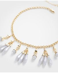 Ann Taylor - Metallic Linear Stone Statement Necklace - Lyst