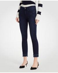 Ann Taylor - Blue Curvy Fringe All Day Skinny Crop Jeans - Lyst