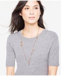 Ann Taylor - Metallic Lock And Key Layering Necklace - Lyst