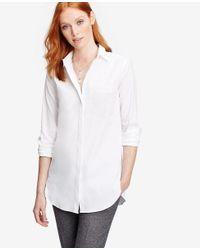 Ann Taylor - White Petite Oversized Shirt - Lyst