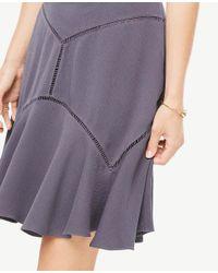 Ann Taylor - Purple Cutout Seamed Skirt - Lyst
