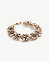 Ann Taylor   Metallic Crystal Flower Bracelet   Lyst