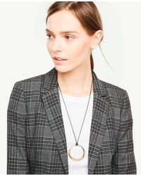 Ann Taylor - Metallic Circle Pendant Cord Necklace - Lyst