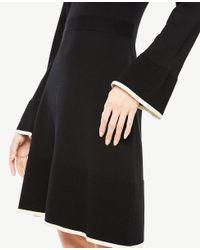Ann Taylor - Black Petite Ruffle Flare Sweater Dress - Lyst