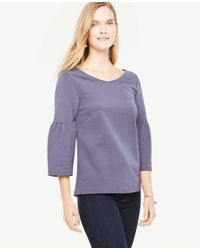 Ann Taylor - Purple Lantern Sleeve Double V Top - Lyst