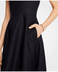 Ann Taylor - Black Linen Cotton Flare Dress - Lyst