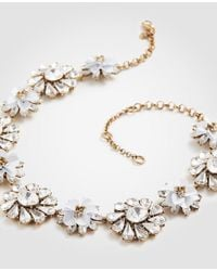 Ann Taylor - White Sequin Crystal Floral Statement Necklace - Lyst