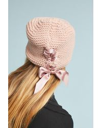 Anthropologie - Pink Ribbon Laced Beanie - Lyst