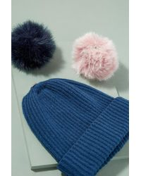 Anthropologie - Blue Wool And Cashmere 2 Pom Beanie - Lyst