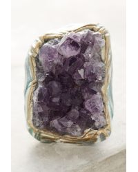 Anthropologie | Metallic Clustered Amethyst Ring | Lyst