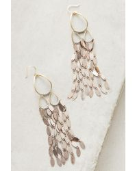 Anthropologie | Metallic Oval-fringe Drop Earrings | Lyst