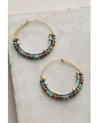 Gas Bijoux | Blue Acomedia Beaded Hoop Earrings | Lyst