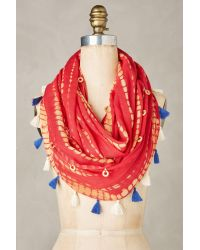 Anthropologie - Red Festival Infinity Scarf - Lyst