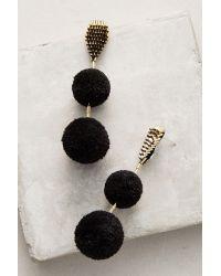 Mignonne Gavigan   Black Double Pom Pom Drop Earrings   Lyst