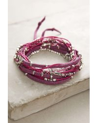 Anthropologie | Pink Rose Twisted Wrap Bracelet | Lyst