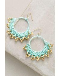 Serefina | Green Crocheted Hoop Earrings | Lyst