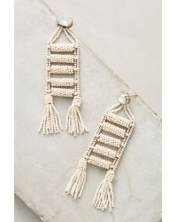 Anthropologie - Metallic Fringed Ladder Drop Earrings - Lyst