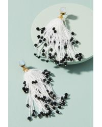 Suzanna Dai - White Beaded Contrast Chandelier Earrings - Lyst