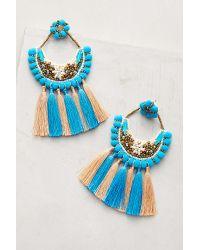 Anthropologie - Blue Pom & Tassel Earrings - Lyst