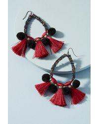 Anthropologie | Red Pom & Tassel Teardrop Earrings | Lyst