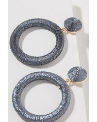 Anthropologie - Gray Hadron Metallic Wrapped Hoops - Lyst