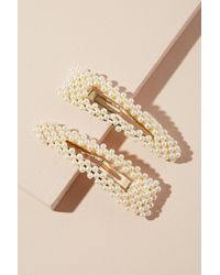 Anthropologie - Multicolor Set Of Two Faux Pearl-embellished Hair Clips - Lyst