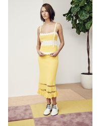 Edun - Yellow Herringbone Cotton Midi Skirt - Lyst