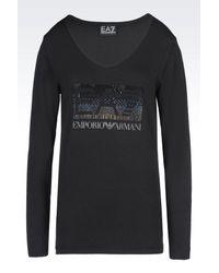 EA7 | Black Long Sleeved T-shirt | Lyst