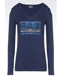 EA7 | Blue Long Sleeved T-shirt | Lyst
