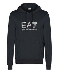 EA7 | Blue Hooded Sweatshirt for Men | Lyst