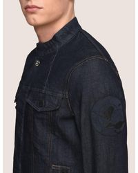 Armani Exchange - Blue Made In Italy Star Patch Denim Trucker for Men - Lyst