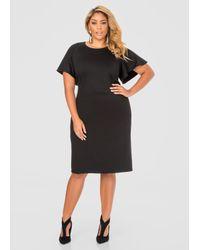 Ashley Stewart | Black Flutter Sleeve Dress | Lyst