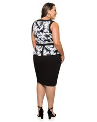 Ashley Stewart - Black Floral Peplum Dress - Lyst