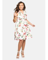 Ashley Stewart | White Floral Sateen Belted Dress | Lyst