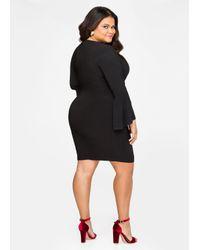 91a7d2e927 Lyst - Ashley Stewart Bell Sleeve Keyhole Bodycon Dress in Black