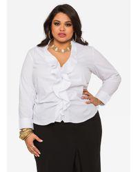 Ashley Stewart | White Ruffle Button Front Shirt | Lyst