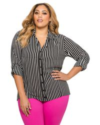 Ashley Stewart - Black Striped Hi-lo Button Front Shirt - Lyst