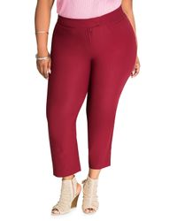 Ashley Stewart | Red Solid Deluxe Ankle Pant | Lyst