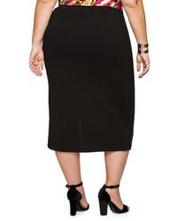 Ashley Stewart | Black Crepe Front Slit Midi Skirt | Lyst
