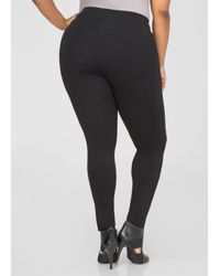 Ashley Stewart - Black Slant Zip Ponte Leggings - Lyst