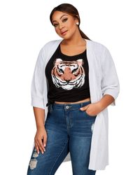 Ashley Stewart - White Elbow Sleeve Ribbed Knit Cardigan - Lyst