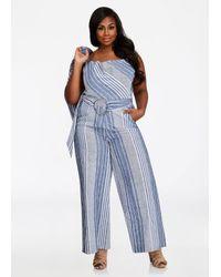7626eacdb66 Lyst - Ashley Stewart Striped Chambray Linen Jumpsuit in Blue