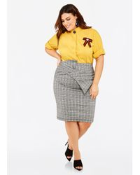 Ashley Stewart - Multicolor Plus Size Bow Front Plaid Pencil Skirt - Lyst