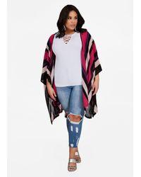 Ashley Stewart - Multicolor Striped Knit Poncho Cardigan - Lyst