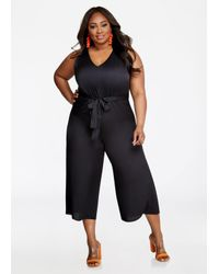 Lyst Ashley Stewart Plus Size Bebe V Neck Tie Back Jumpsuit In Black