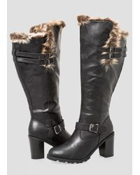 72e57066df2 Lyst - Ashley Stewart Chunky Fur Lined Tall Boot - Wide Calf, Wide ...