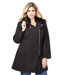 Ashley Stewart Black Wool Blend Fur Collar Winter Coat