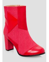 Ashley Stewart - Red Denim Patchwork Bootie - Wide Width - Lyst
